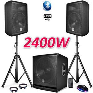 PACK SONO PACK SONO COMPLET BMS1812 USB-Bluetooth 2400W  Sub