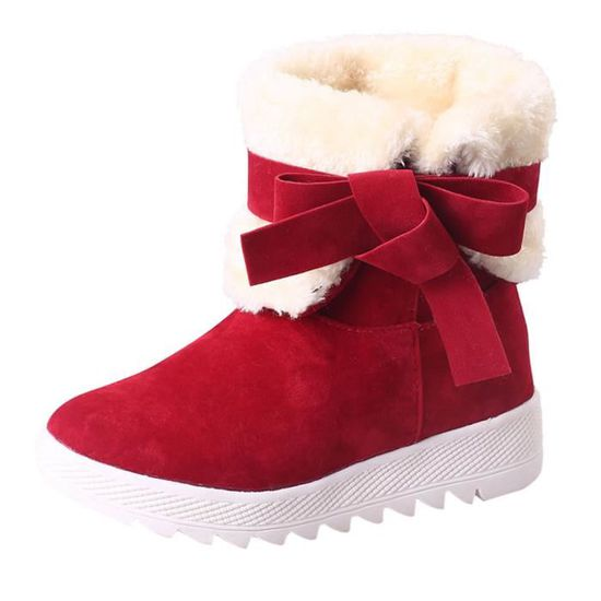 Bottes Hiver Chaussures D'hiverrouge Cheville Bowknot De Chaud Femme wnNm80