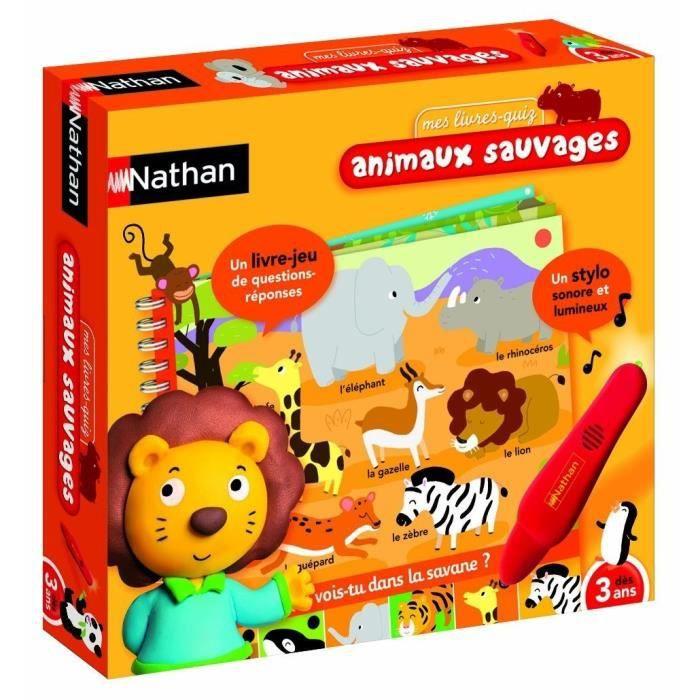 Nathan Les animaux sauvages - Un jeu électronique de questions-réponses pour découvrir les animaux sauvages. Pour chaque question, l'enfant pointe son stylo sur la réponse. Si le stylo s'allume, c'est gagné ! - A partir de 3 ans - MixteLIVRE ELECTRONIQUE
