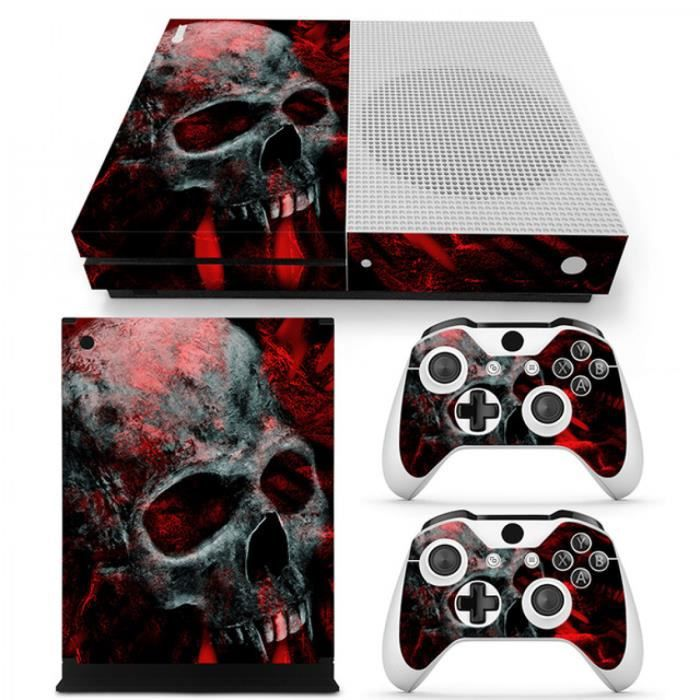 sticker decal autocollant xbox one s skull rouge smoke. Black Bedroom Furniture Sets. Home Design Ideas