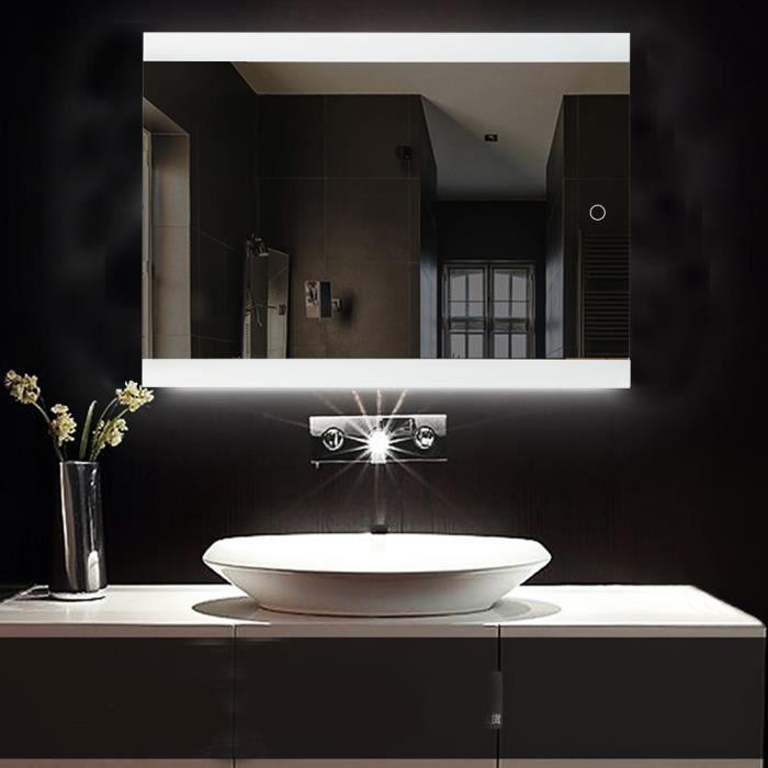 eclairage led miroir salle de bain MISS 80*60CM Miroir Salle de Bain avec éclairage LED Miroir Mural Lumière  Réglable Anti-Brouillard bouton tactile