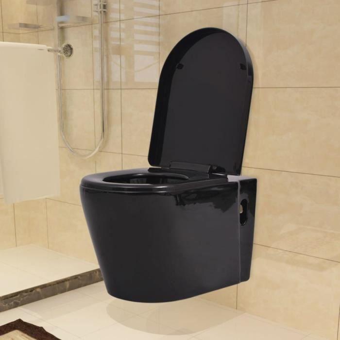 Magnifique Toilette suspendue au mur avec reservoir cache Ceramique Noir
