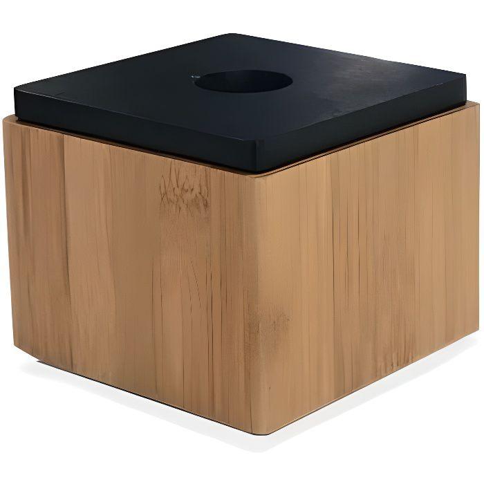 Boîte De Rangement Salle De Bain Carrée Bambou Couvercle Noir 0,000000 Bois