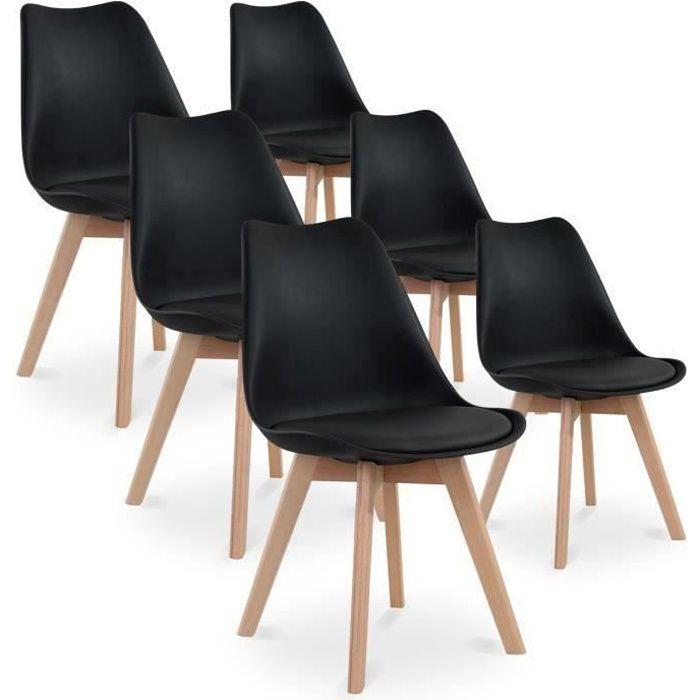 lot de 6 chaises style scandinave catherina noir - achat / vente