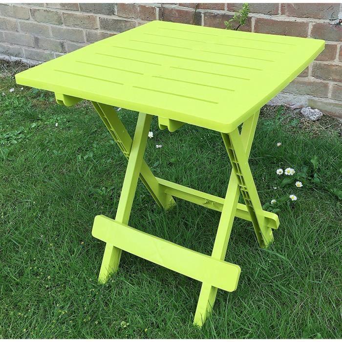 UK-Gardens - Table de jardin en plastique en résine, vert lime ...