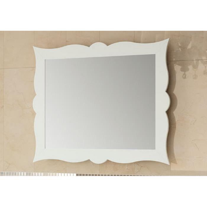 miroir de salle de bain r tro 79 cm cadre blanc achat vente miroir cdiscount. Black Bedroom Furniture Sets. Home Design Ideas