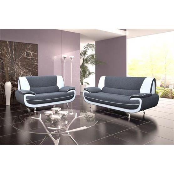 canap design 3 2 bregga tissu gris et blanc achat. Black Bedroom Furniture Sets. Home Design Ideas