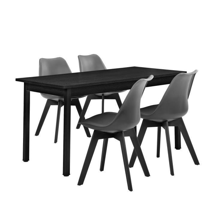 En Casa Table A Manger Noir Avec 4 Chaises Gris Achat Vente