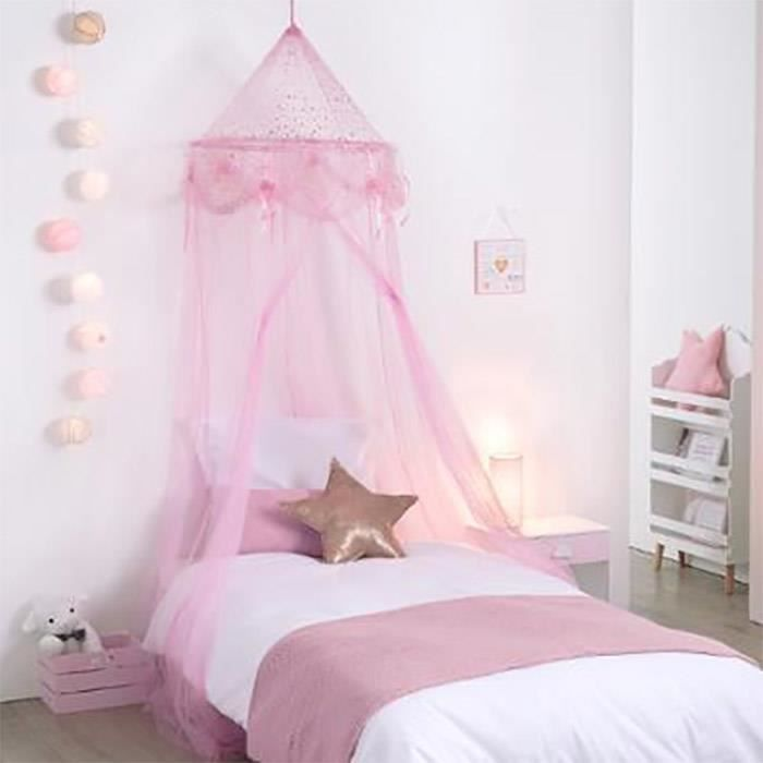 ciel de lit fille princesse rose avec toiles achat vente ciel de lit b b 4952697195452. Black Bedroom Furniture Sets. Home Design Ideas