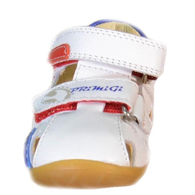 Primigi Sandales pour Garçon Blanc Cuir Velcro 80460