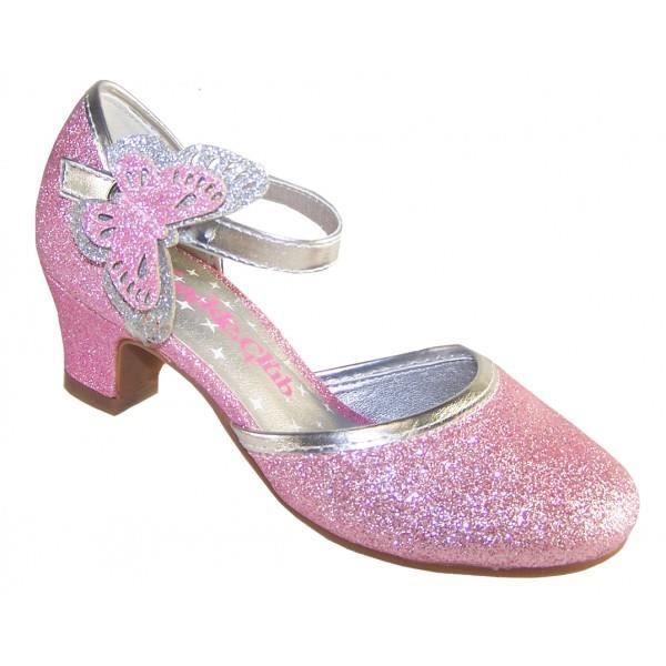 Escarpins à petits talons roses à paillettes avec papillon pour mariages, et autres occasions spéciales