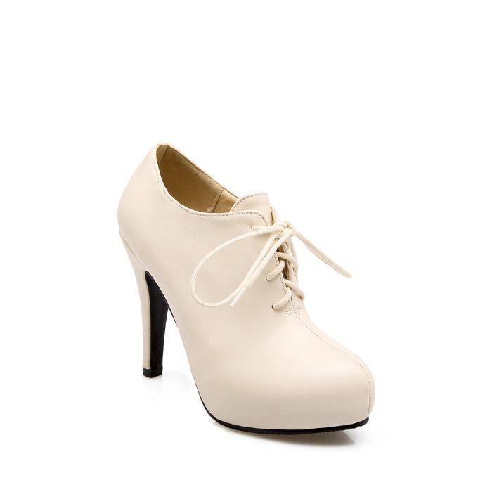83ae05920ff0 Escarpin Talons hauts pompes talon mince bout rond lacer Chaussures femme  8941464