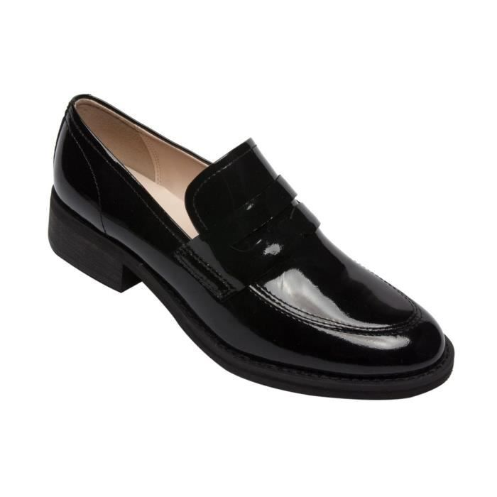 Eric - Patent Penny Loafers - Stacked Leather Block Heel Casual Slip-on Flat (new Fall) PBSVZ Taille-38