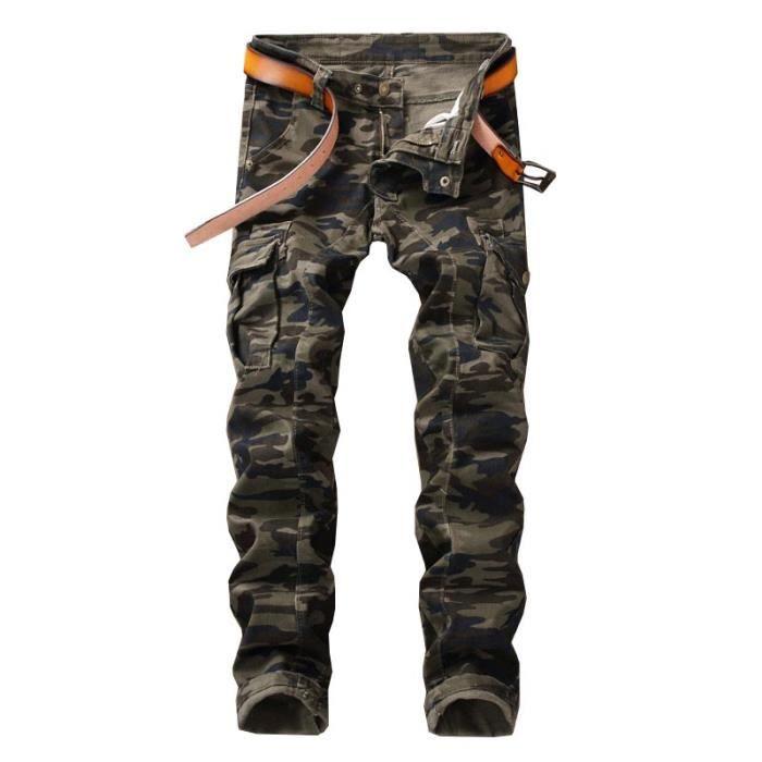 coût modéré trouver le prix le plus bas grande variété de modèles Jeans Slim Homme Camouflage Militaire Pantalon Homme Jeans Fashion