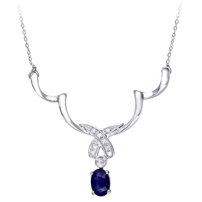 Revoni - Collier pendentif en or blanc 9 carats, saphir et diamants, chaîne 49 cm - REVCDPNE01130WSA