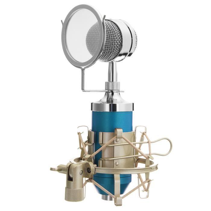 Tempsa Microphone À Condensateur Studio Enregistrement Son Avec Support Choc Métallique Bleu