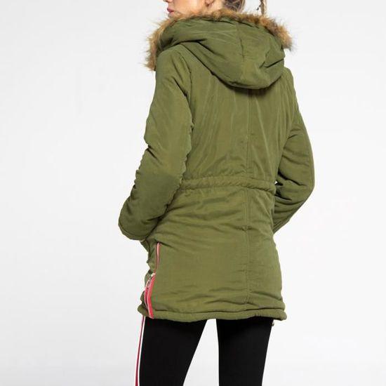 D'hiver Parka Long À Outwear Womens Manteaux Chaud Col Fourrure Slim Vert Veste Capuche En Manteau qfx1RPwA