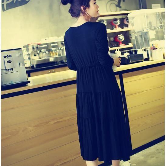 Wishnice@Modal en vrac manche longue robe