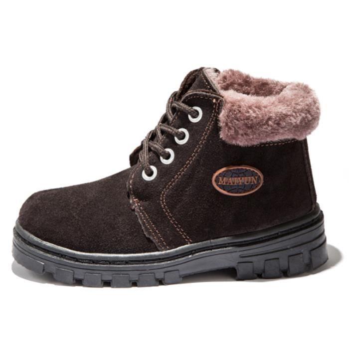 Martin Boots Enfants Hiver Garçons Fille Classique Chaussures BTYS-XZ101Marron29-s