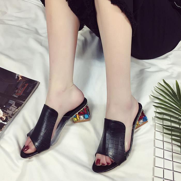 Sandales 1001 Chaussures Parti Strass Épais blanc Femmes multicolore Talons Flop Mode Xym71213902 Noir Tong Pantoufle wqXPREF
