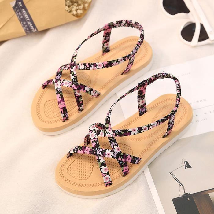 Chaussures De Sandales D'été 8452 Femmes Plates Tongs Plage Mode Bands Cordes xI8fPq
