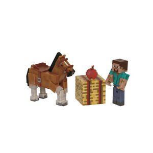 FIGURINE - PERSONNAGE MINECRAFT Figurine Coffret Steve & Cheval Chesnut