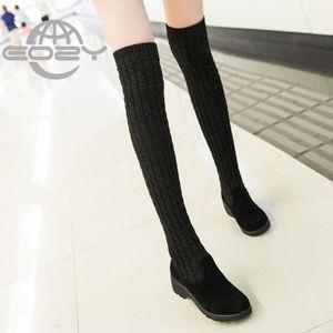 BOTTE EOZY Bottes Femme Fille Chaussures Vogue Hiver Noi