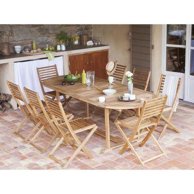 Salon de jardin Acacia FSC couleur teck 8 places : table 180-237cm + ...