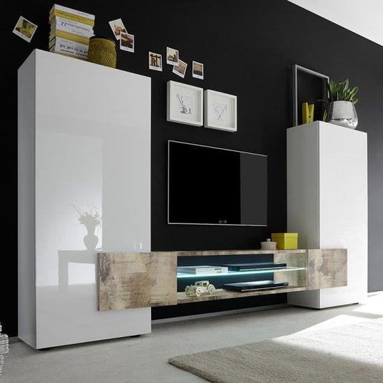Ensemble Meubles Tv Blanc Laque Brillant Et Couleur Bois Eros 2 Sans