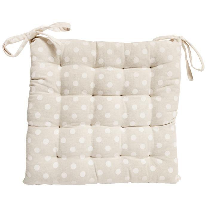 SOLEIL D'OCRE Galette de chaise capitonnée Passion en coton - Blanc naturel