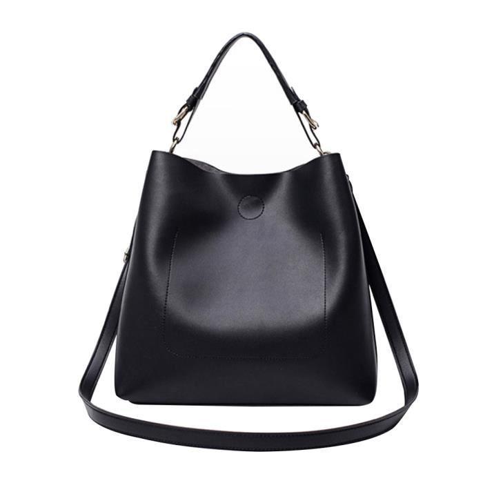 59834b6e24 2-in-1 fourre-tout sacs à main Sac à bandoulière tendance en cuir PU Sac  fourre-tout élégant à la mode sac fourre-tout, noir