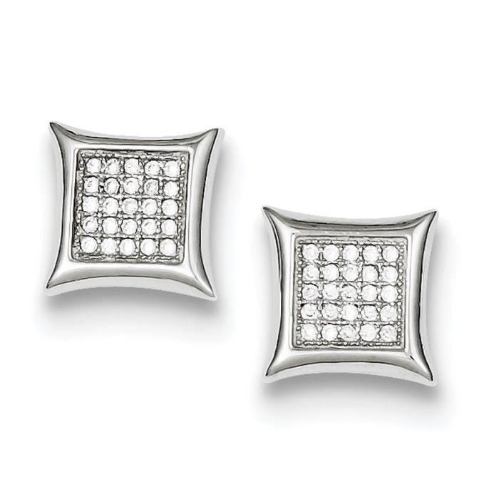 CZ en argent Sterling incrusté de cristaux carrés-Boucles doreilles