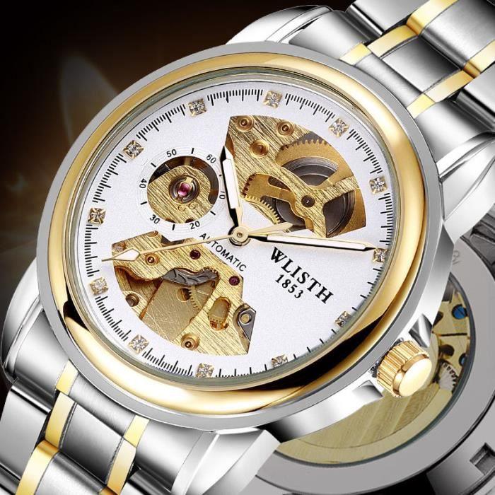 acheter en ligne e7e65 ad4e8 Montres automatiques Squelette Mécanique montre Hommes Luxe Acier  inoxydable Night Lumière Montre-bracelet Avec des diamants
