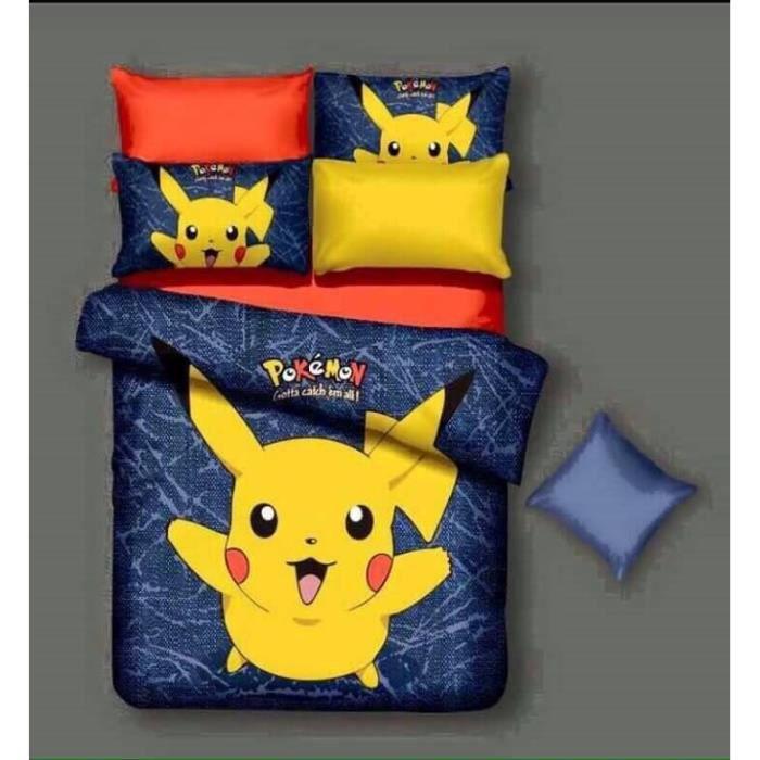 parure de couette parure de lit pikachu pokemon 1 housse de couette 200 220 cm 2 taie d. Black Bedroom Furniture Sets. Home Design Ideas