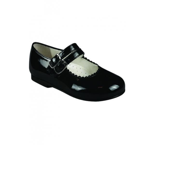 70a84fd1c8929 Chaussures Bébé Baptême cuir double bride motifs bout rond es vern ...