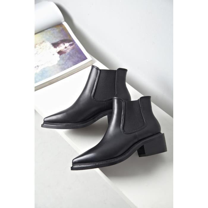 bottes courtes-Pure Color talonpais bout pointu Bottes de femme