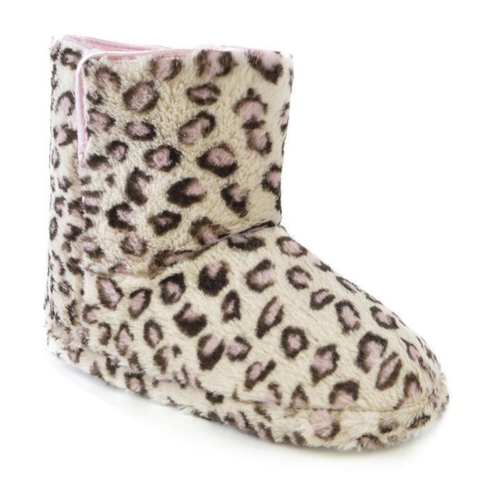 Chaussons-bottes à imprimé léopard - Femme Rose - Achat   Vente ... a9bb8d708dfb