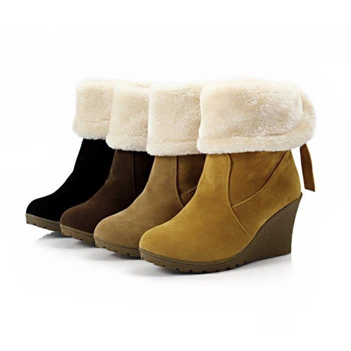 Mode fourrure de neige d'hiver Bottes femme Bottes talons 2017 femmes cheville Bottes hiver chaud chaussures de neige,kaki,35