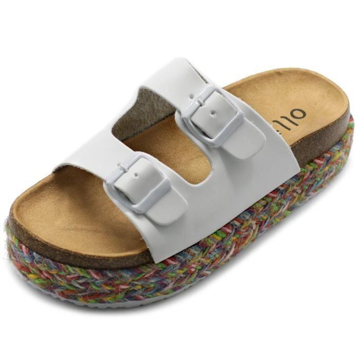 Femmes Chaussures à lacets de chaussure Boho Deux Bracelet plate Espadrilles Sandales en liège EQ3TW Taille-41 IEbAo7J