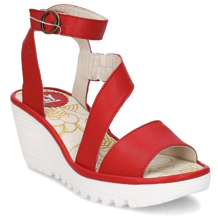 Vente Rouge Achat Chaussures Nu Fly London Yesk Sandale xqpZwCf4U
