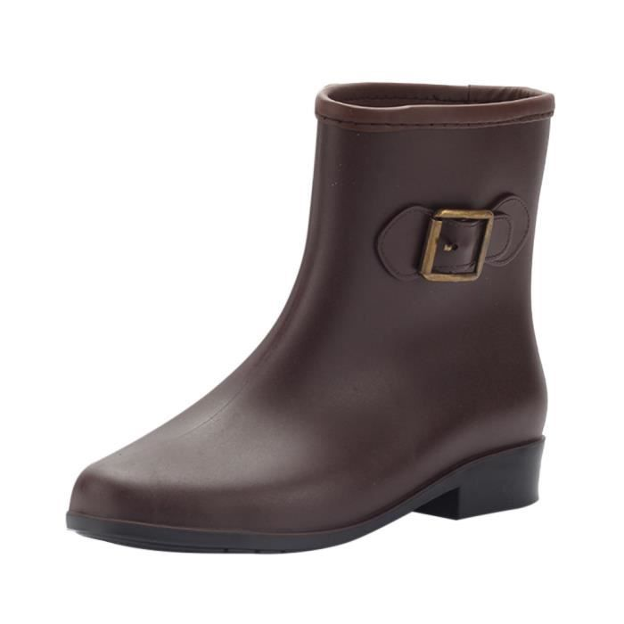 Central Pluie 5057 Rond Mode Chaussures Boucle Veberge Étanche Tube Bout Bottes Talons Plats Féminine À De wOqFv