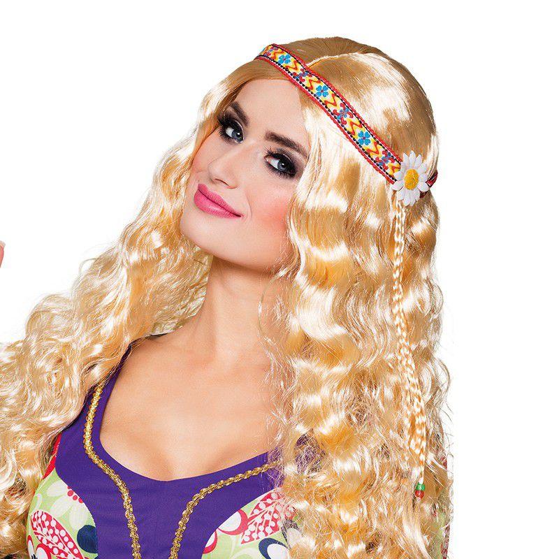 PERRUQUE HIPPIE AVEC BANDEAU FEMME Blond