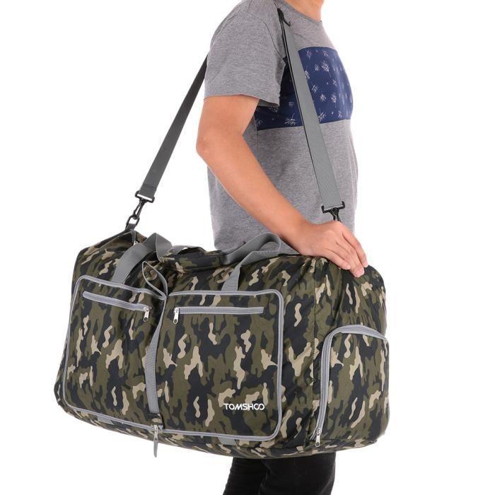 d39f850098 TOMSHOO 80L Sac à bandoulière pliable de rangement Bagages de voyage Achats  Gym Etanche camouflage personne mixte