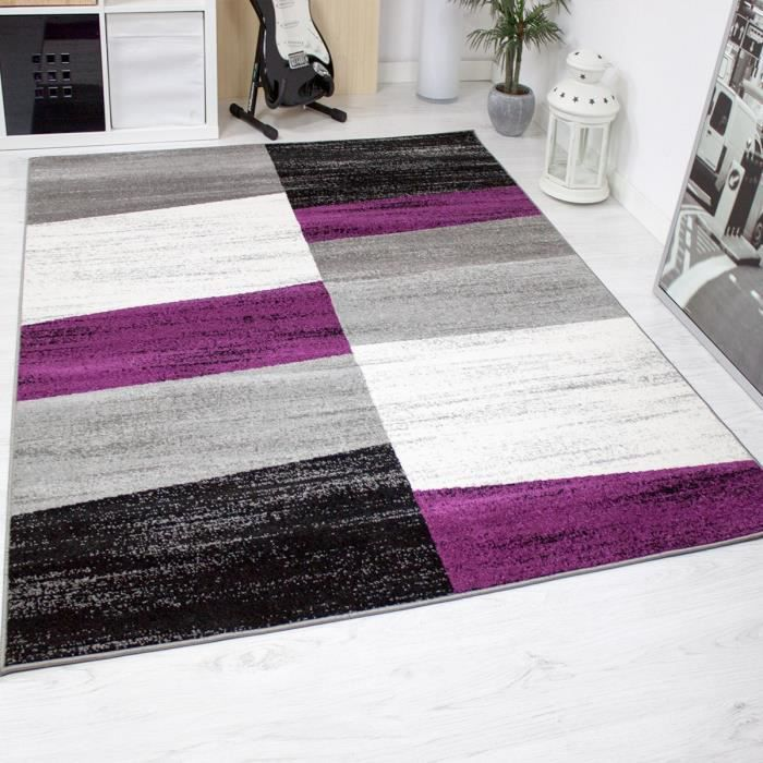 tapis de salon g om triques violet gris blanc et noir 80x250 cm achat vente tapis cdiscount. Black Bedroom Furniture Sets. Home Design Ideas