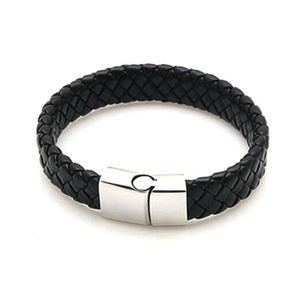 BRACELET - GOURMETTE Bracelet homme en cuir tressé noir
