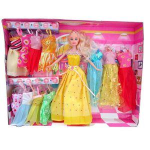 POUPÉE Poupée Barbie avec 12 Barbie Robes / Vêtements (Po