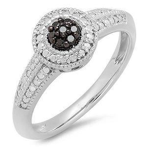 BAGUE - ANNEAU Bague Femme Diamants 0.08 ct  Argent Fin 925-1000