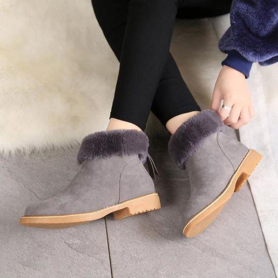 Zips Chaussures Hiver Neige Chaud Bottes gris De Zf19904 En Cheville Bottes Femmes Peluche Lafayestore®mode vwxqp8v