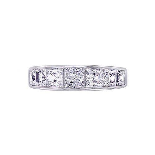 Jewel Panda Les diamants platine en argent sterling plaqué Simulations Princesse Bague, Taille 5