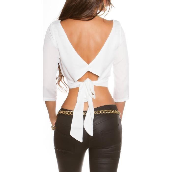 31bcd36478e Top dos nu tee shirt manches longues blanc cache coeur dos fashion ...